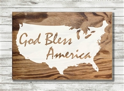 """God Bless America"" Map Wood Plank Size: 5 1/2"" t x 10"" w x 3/4"" d"