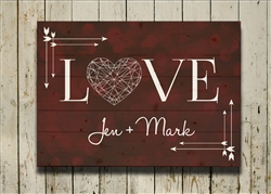 Personalized -  Bokah Love Pallet Sign - featured in Berry Red Color