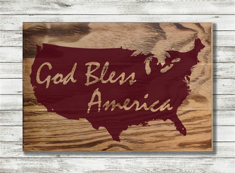 """God Bless America - Map"" text Wood Sign Size: 8"" t x 12"" w x 1/2"" d"