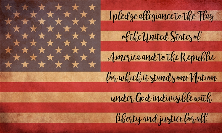 """I Pledge of Allegiance to the Flag"" text Wood Sign Size: 8"" t x 12"" w x 1/2"" d"