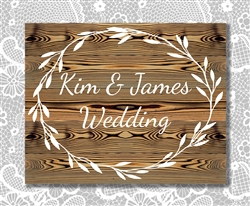 "Rustic Personalized ""Wedding"" wood sign. Size: 8"" t x 12"" w x 1/2"" d"