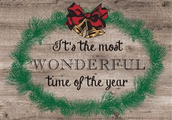 "Rustic  ""It's the Most Wonderful Time of the Year"" Color Christmas wood sign. Size: 8"" t x 12"" w x 1/2"" d"