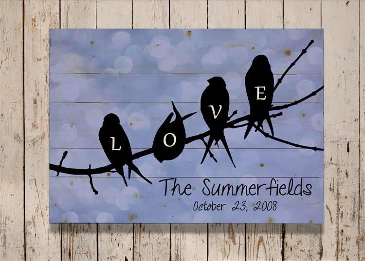 Personalized - Birds on a Branch LOVE Pallet Sign 11X14