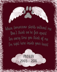 Personalized dog memorial wall plaque 11x14