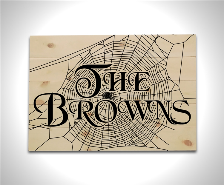 Personalized Spider Web Family Name - Wood Pallet Sign