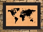 Framed World Map corkboard - black 8x12 image size