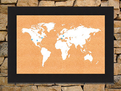 Framed World Map corkboard - White 8x12 image size