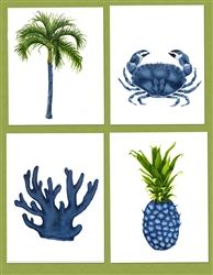 Tropical Blue collection - Pineapple, tree, crab and coral