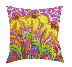 14x14 Triple Play Decorative Pillow by Jeff Boutin