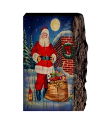 Moonlit St Nick Santa on rooftop Christmas - Faux Split Log wood decor