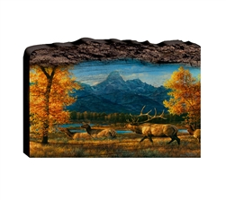 Teton Range Elk - Faux Split Log wood decor