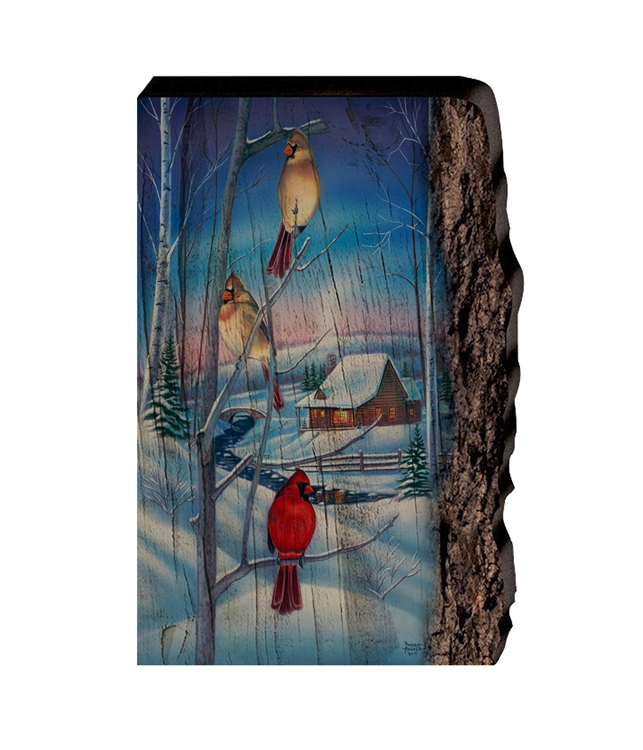Winters Eve Cardinals - Faux Split Log wood decor