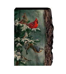 Tidings of Comfort and Joy (Cardinals, Chickadee and Nuthatch) - Faux Split Log wood decor