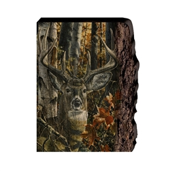 Autumn Colors Whitetail Deer - Faux Split Log wood decor