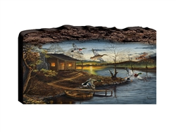 Autumn Retreat Cabin and Ducks - Faux Split Log wood decor