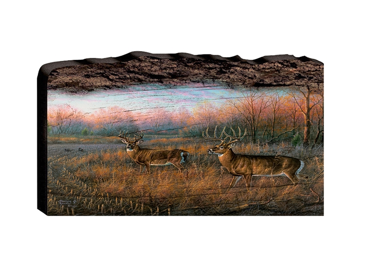 Frosty Dawn Deer and Turkey - Faux Split Log wood decor