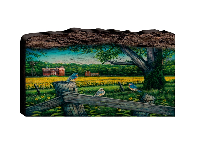 Sunflower Valley Blubirds - Faux Split Log wood decor