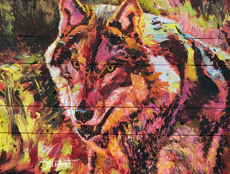 Wolf image by Jeff Boutin - Pallet wood decor