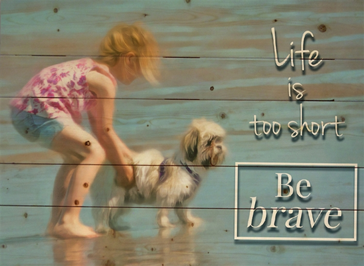 Life's too Short - beach scene by Hal Halli wood decor