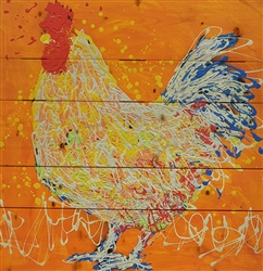 Archie the Rooster - Chicken scene by Jeff Boutin wood decor