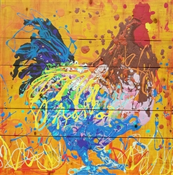 Freeman the Rooster - Chicken scene by Jeff Boutin wood decor