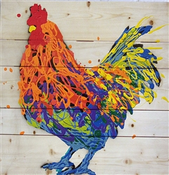 Oliver the Rooster - Chicken scene by Jeff Boutin wood decor