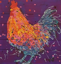 Romeo the Rooster - Chicken scene by Jeff Boutin wood decor