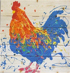Xander the Rooster - Chicken scene by Jeff Boutin wood decor
