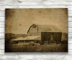 Old Farm, Old Barn in Sepia Wood Pallet by Hal Halli