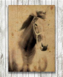Stallion Horse in Sepia Wood Pallet by Hal Halli