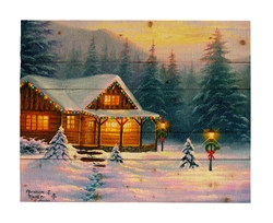 A Christmas Cabin by Abraham Hunter Decorative Wood wall plaque