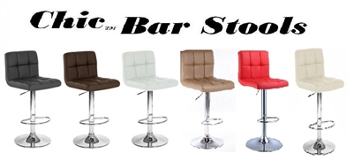 "Chic Contemporary  ""Leather"" Contemporary Bar Stools - Set of 2"