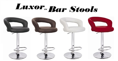 Luxor Faux Leather Adjustable Bar Stool (Set of 2)