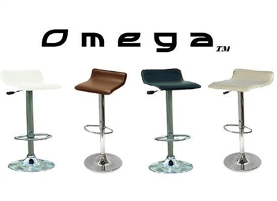 Omega Faux Leather Single Contemporary Bar Stools - 3 Colors