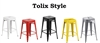 "Set of 4 - Tolix Style Metal Counter Stools with Powder Coated Finish (24"" - 5 Different colors available)"
