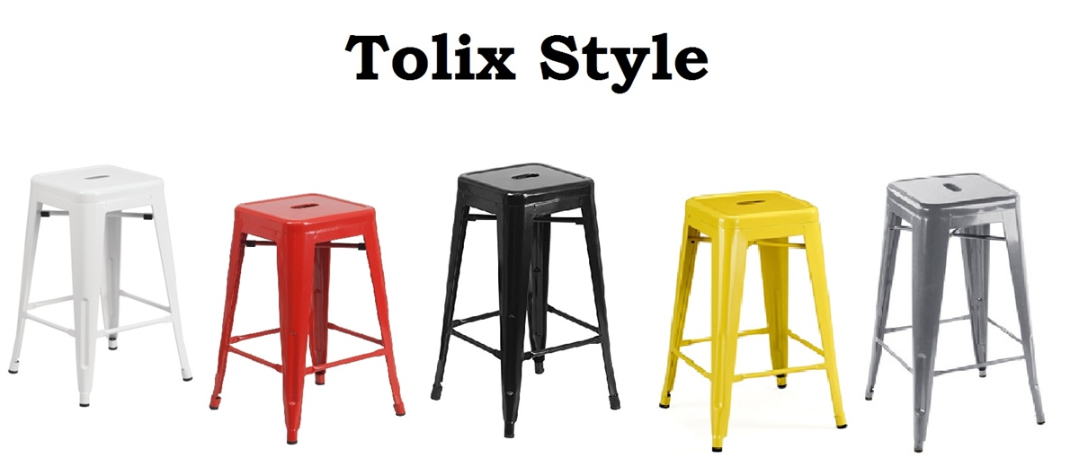 Terrific Set Of 4 Tolix Style Metal Counter Stools With Powder Coated Finish 24 5 Different Colors Available Gmtry Best Dining Table And Chair Ideas Images Gmtryco