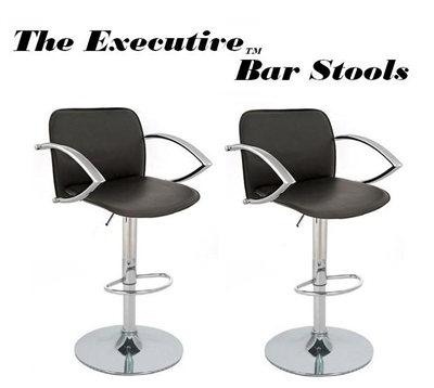 The Executive Modern Adjustable Bar Stool - Black  - Set of 2