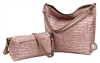 Dusty Rose and Taupe Reversible Hobo