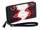Black and Red Snake Zip Around Wallet
