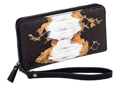 Black and Ginger Snake Zip Around Wallet