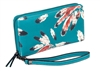 Feather Print Zip Around Wallet