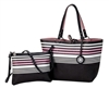 Pink Stripe Reversible Tote with Inner Pouch