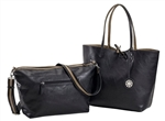 Reversible Tote with inner pouch in Black and Taupe