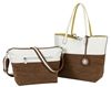 Reversible Tote with inner pouch in Brown/Stone and Lime