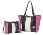 Reversible Medium Tote with inner pouch in Stone/Black and Fuchsia