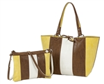 Reversible Medium Tote with inner pouch in Brown/Stone and Lime