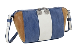 Stone/Denim/Mocha Faux Suede Cross Body