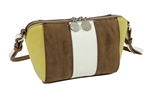 Brown/Lime/Stone Faux Suede Cross Body