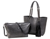 Reversible Tote with inner pouch in Steel & Black