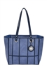 Denim & Navy Window Pane Tote
